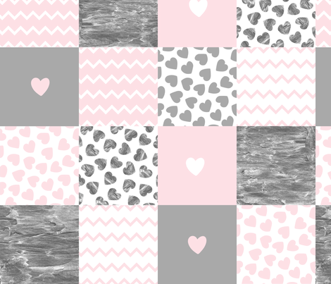 Patchwork pink gray hearts patchwork fabric by graphicsdish on Spoonflower - custom fabric