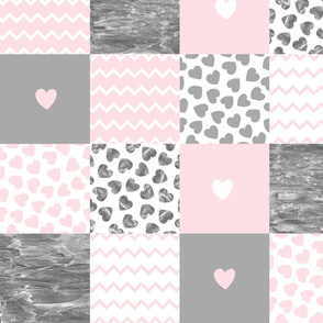 Patchwork pink gray hearts patchwork