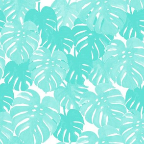 palm  monstera pastel aqua tropical leaves summer botanicals