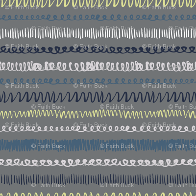 Squiggle Stripe on Grey