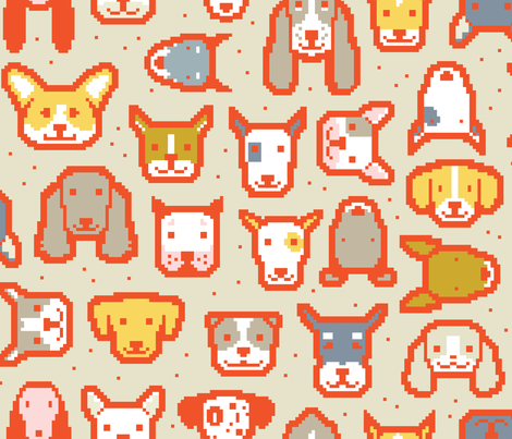 Pixel Puppers W by Friztin fabric by friztin on Spoonflower - custom fabric