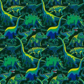 Dinosaurs Blue on Dk Green