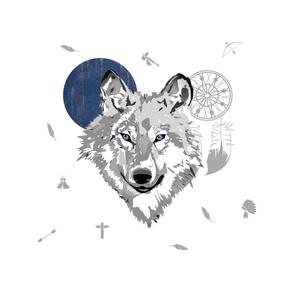 "3 PRINTS to 1 ROLL OF GIFTWRAP / 18""x18"" Illustration / Boys Boho Wolf"