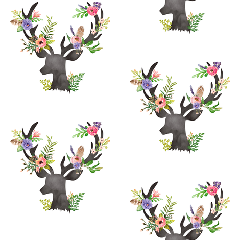 Deer W Floral Antlers Purple Flowers Feathers Baby Girl