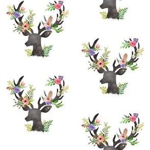 Deer w/ Floral Antlers - Purple Flowers Feathers Baby Girl Nursery Crib Sheets Bedding B