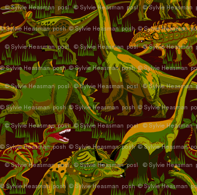 Camo Dinosaurs  on Dark Burgundy Brown