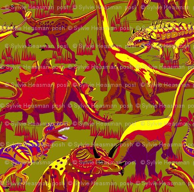 Dinosaurs Reds on Green