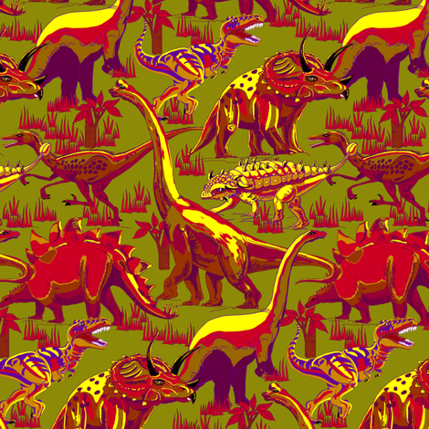 Dinosaurs Reds on Green  fabric by house_of_heasman on Spoonflower - custom fabric