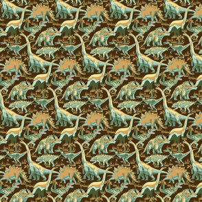 Dinosaurs Teals and golds on Dk gold