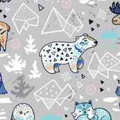 Arctic animals in gray colors
