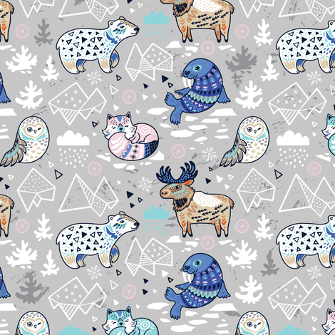 Arctic animals in gray colors fabric by penguinhouse on Spoonflower - custom fabric