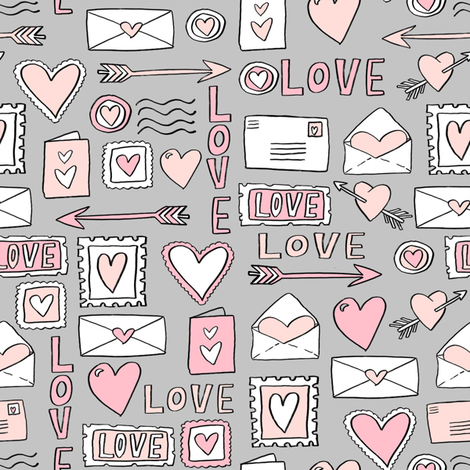 love letters // valentines love notes fabric hearts stamps valentine's day grey fabric by andrea_lauren on Spoonflower - custom fabric