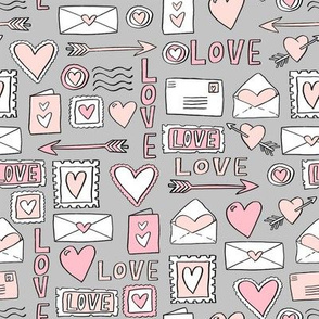 love letters // valentines love notes fabric hearts stamps valentine's day grey
