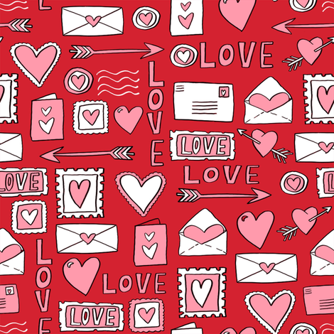 love letters // valentines love notes fabric hearts stamps valentine's day red fabric by andrea_lauren on Spoonflower - custom fabric
