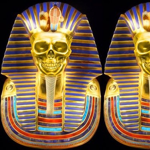 2 ancient egypt egyptian king tut Tutankhamun pharaoh gold mummy death masks cobra snakes crown Uraeus Wadjet vulture Nekhbet serpent skulls skeletons funerary funeral