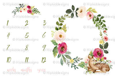 Deer and Pink Meadow Florals Baby Milestone