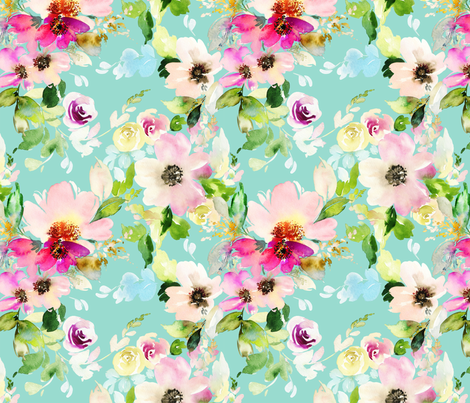 Summer Mint Florals fabric by hipkiddesigns on Spoonflower - custom fabric
