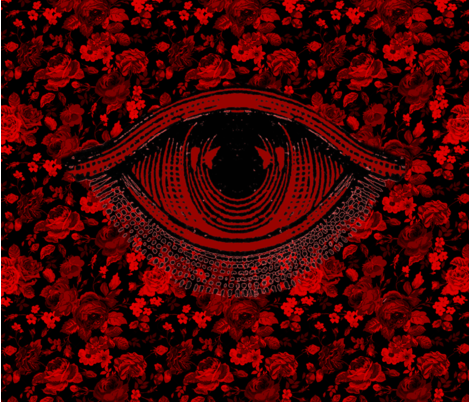 百々目鬼 (hundred eyes demon)  fabric by calexya on Spoonflower - custom fabric