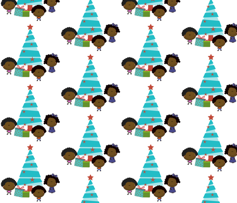Kids and Tree: Christmas fabric by thegeekygodmother on Spoonflower - custom fabric