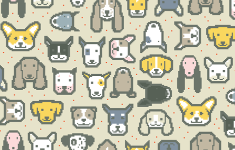 Pixel Puppers C by Friztin fabric by friztin on Spoonflower - custom fabric