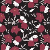 Burgundy floral pattern
