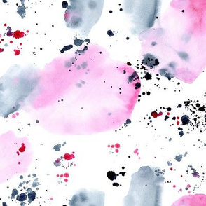 Pink and indigo watercolor abstraction
