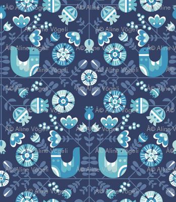 scandiavian birds and flowers