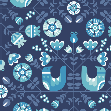 scandiavian birds and flowers fabric by lilalunis on Spoonflower - custom fabric