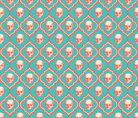 geo skull2-turquoise fabric by thecalvarium on Spoonflower - custom fabric