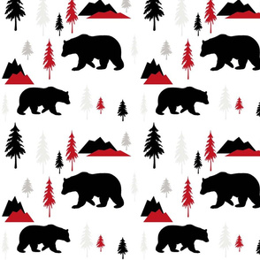 Bears Mountains Forest Red Black Gray
