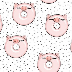 piggy donut - cute pig (grey dots)