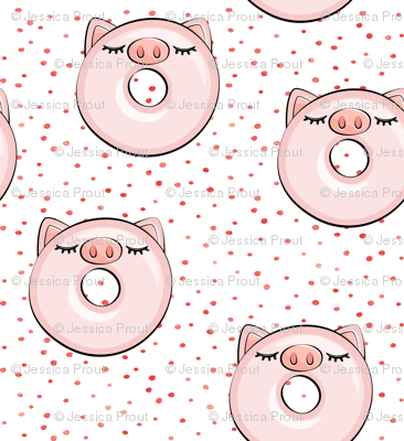 piggy donut - cute pig (red dots)