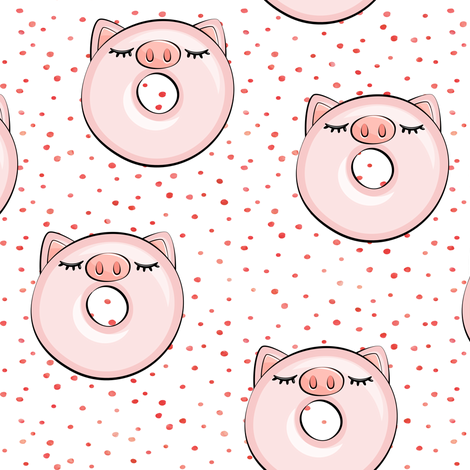 piggy donut - cute pig (red dots) fabric by littlearrowdesign on Spoonflower - custom fabric