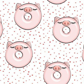 piggy donut - cute pig (red dots)