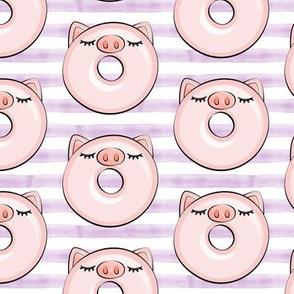 piggy donut - cute pig (purple stripes)
