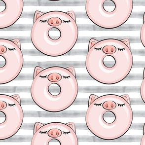 piggy donut - cute pig (grey stripes)