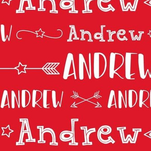 Boys Personalized Name Stars and Arrows // Red and White