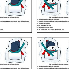 Winter Give Me More Snow Cut and Sew Doll Ornament