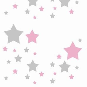 Celestial Pink Grey Gray Stars