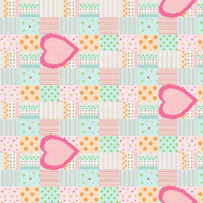 Sweet Treats quilt H10- Fuzzy Heart hotty pink
