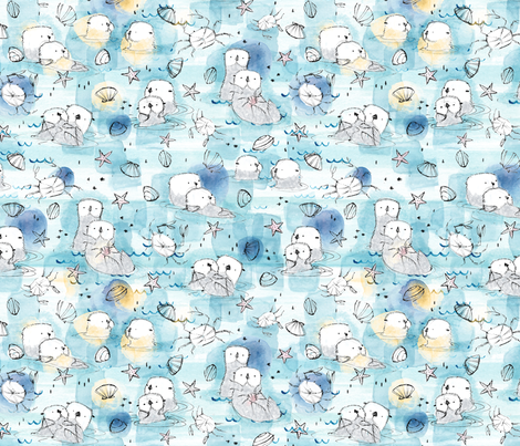 Cuddling Otters in Sunshine XS -  © Lucinda Wei fabric by lucindawei on Spoonflower - custom fabric