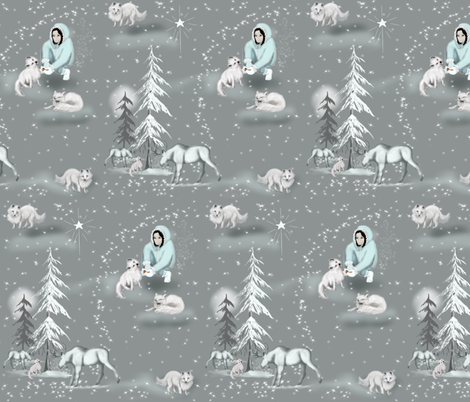 Arctic  White fox & Moose  fabric by salzanos on Spoonflower - custom fabric