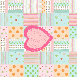 Sweet Treats Fuzzy Heart wholecloth Quilt - hotty pink