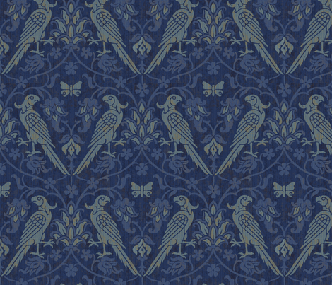 Parrot Damask 1a fabric by muhlenkott on Spoonflower - custom fabric