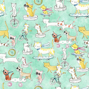 Adventure Awaits Cats Pattern - © Lucinda Wei