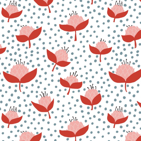 Mod poppy red Blue fabric by mrshervi on Spoonflower - custom fabric
