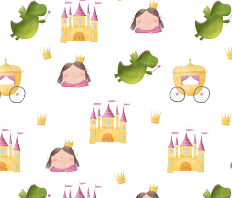 watercolor  pattern with cute princess, castle and Fairy tale   fabric by slava on Spoonflower - custom fabric