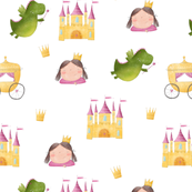 watercolor  pattern with cute princess, castle and Fairy tale