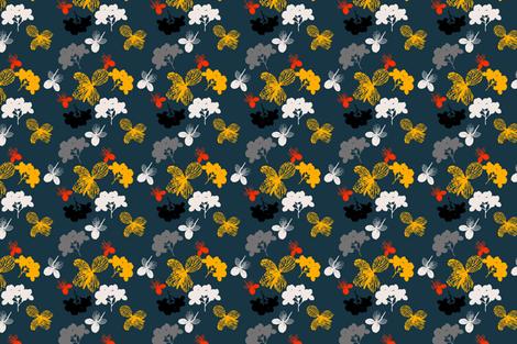 Blue Hortensia fabric by freudenwerkstatt on Spoonflower - custom fabric
