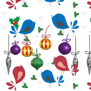 Christmas baubles and birdies